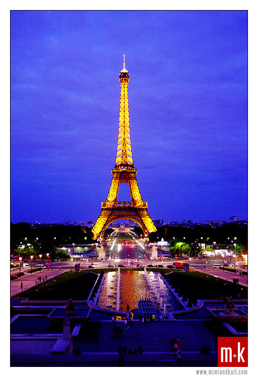 Eiffel Tower by night, Trocadero, Paris, France